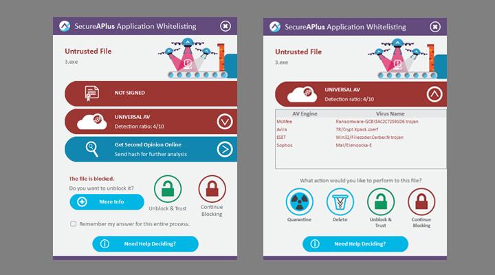 Application Whitelisting Prompts